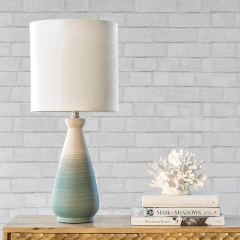"nuLOOM Magnolia 25"" Coastal Green Ceramic Table Lamp - 11""W x 11""D x 25""H"