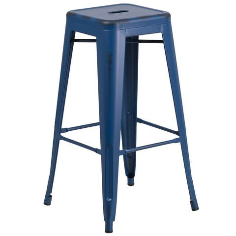 """30"""" High Backless Distressed Metal Indoor-Outdoor Barstool - Patio Chair"""