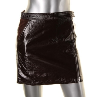 Theory Womens Berdin L Polished Leather Lined A-Line Skirt