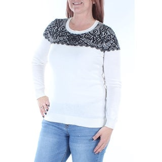 Womens Ivory Printed Long Sleeve Jewel Neck Sweater Size S
