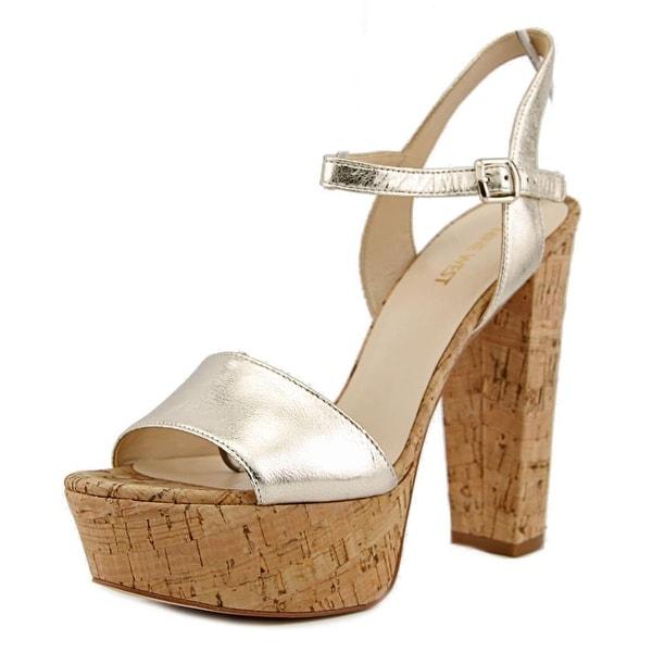 Nine West Carnation Women Open Toe Leather Gold Platform Sandal
