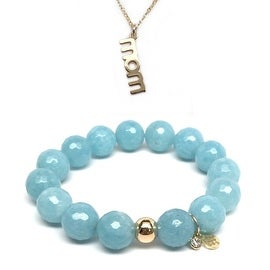 "Light Blue Quartz 7"" Bracelet & Mom Gold Charm Necklace Set"
