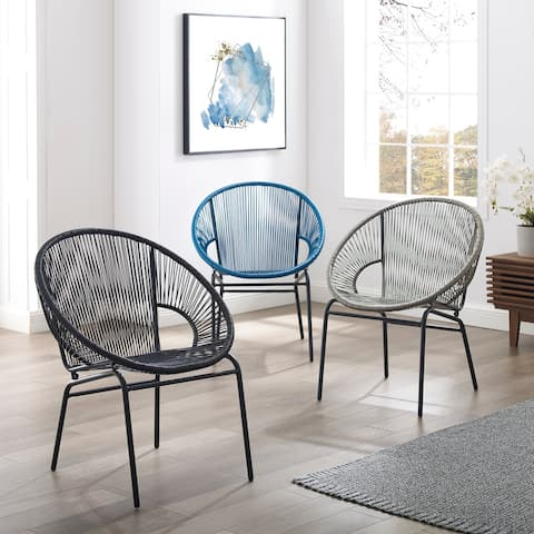 Corvus Sarcelles Woven Wicker Indoor/Outdoor Chairs (Set of 2)