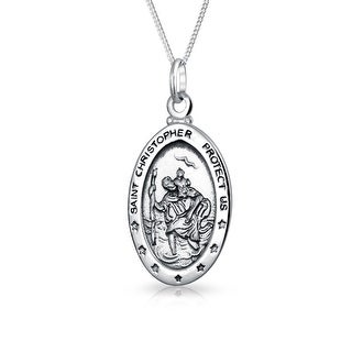 Parton Of Safe Travel Medal Medallion Oval Saint Christopher Pendant Necklace For Women Oxidized 925 Sterling Silver
