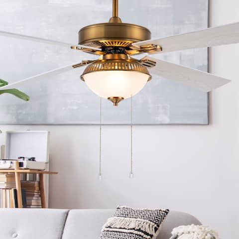 "Leila River of Goods Brass and Glass 52-Inch Ceiling Fan with Light - 52"" x 52"" x 14""/19"""