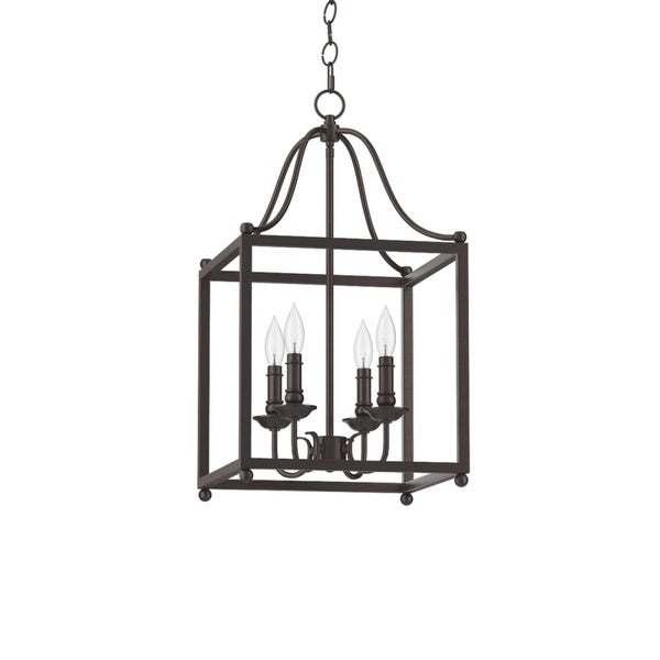 "Park Harbor PHPL5324 14"" Wide 4 Light Foyer Pendant with Lantern Style Cage Frame - warm bronze"