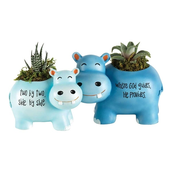 "Set of 2 Blue and Green Hippo Duo Nursery Planters 5.5"" - N/A"