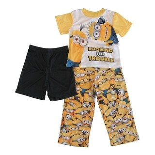 Disney Pixar Boys Yellow Minions Short Sleeve Three Piece Pajama Set