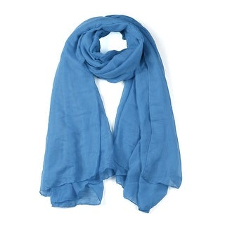 Soft Lightweight Long Scarves With Solid Color Shawl For Women Men Denim blue