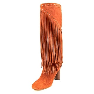 INC International Concepts Tolla Women Round Toe Suede Orange Knee High Boot