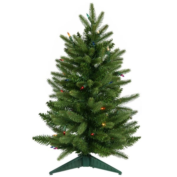 2' Pre-Lit Frasier Fir Artificial Christmas Tree - Multi Lights - green