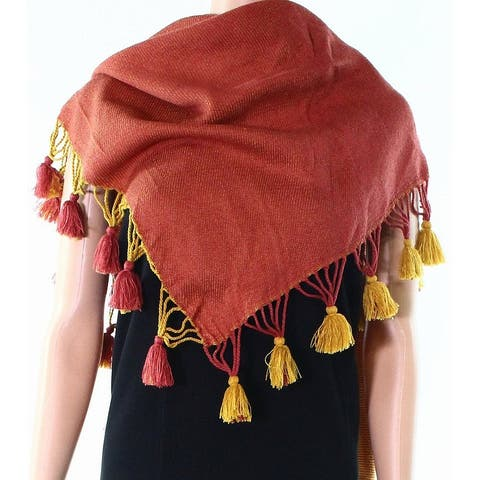 David & Young Yellow Mustard Size Tassle Edge Triangle Wrap Scarf
