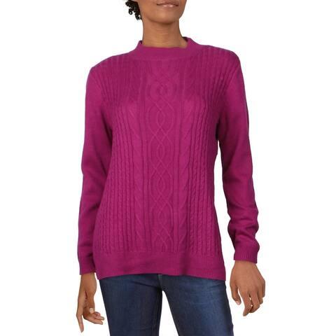 Karen Scott Womens Sweater Cable Knit Crewneck - Autumn Berry