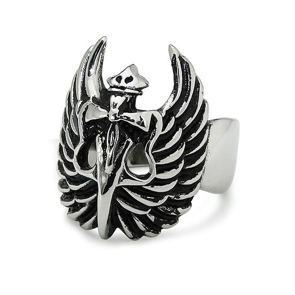 Stainless Steel Wings and Dagger Ring