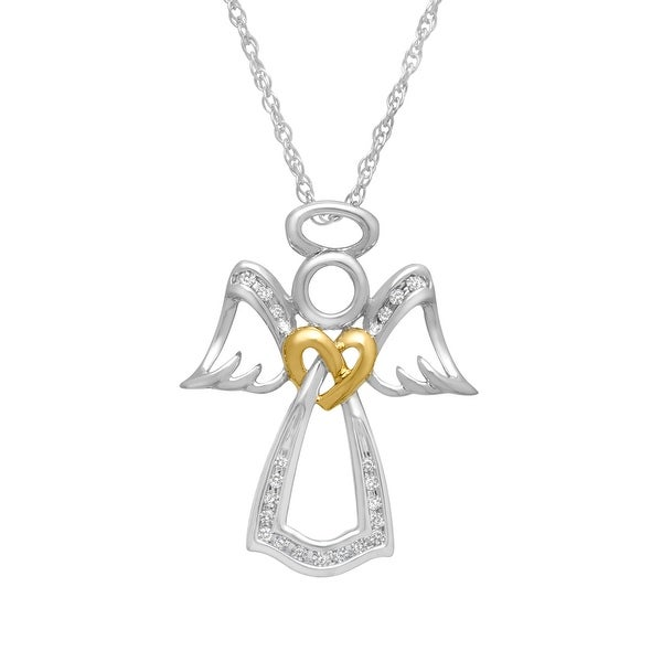 1/10 ct Diamond Angel Pendant in 14K Gold-Plated Sterling Silver