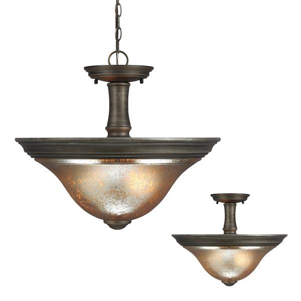 Sea Gull Lighting 7770402-736 2-Light Semi-Flush Convert Pendant Platinum Oak - platinum oak finish