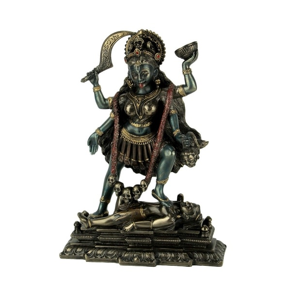 Kali Hindu Goddess Standing On Lord Shiva Statue - 7.25 X 5.5 X 2 inches
