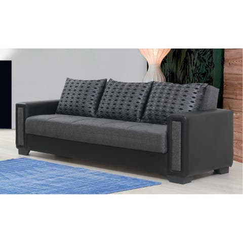 Orshava Grey and Black Upholstered Convertible Sleeper Sofa with Storage