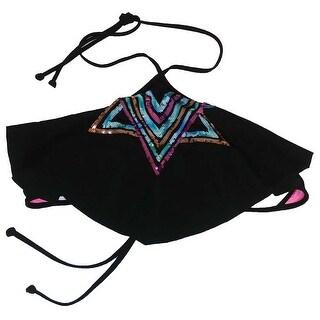 Victoria's Secret Pink Bikini Top Flounce Triangle Halter Sequin Black - Black/multi