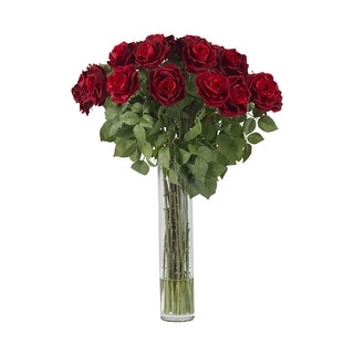 Nearly Natural Large Rose Silk Flower Arrangement - Red