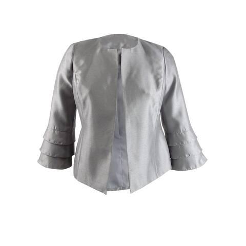 Kasper Women's Shiny Ruffled-Cuff Jacket (10, Silver)