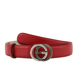 Gucci Unisex Interlocking G Red Leather With Silver / Black Buckle Belt 295704 6420