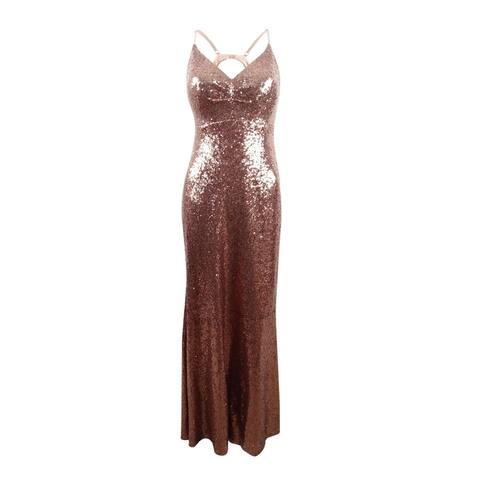 Nightway Women's Sequined Strappy-Back Gown (10, Rose Gold)