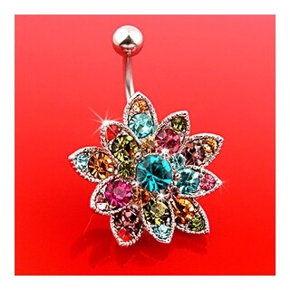 """Colorful Crystals Paved Large Flower Belly Ring - 14GA 3/8"""" Long"""