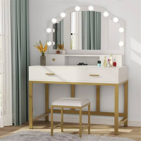 47Large Vanity Set with Tri-Folding Lighted Mirror and 2 Large Drawers , 2 Small Drawers - White/gold