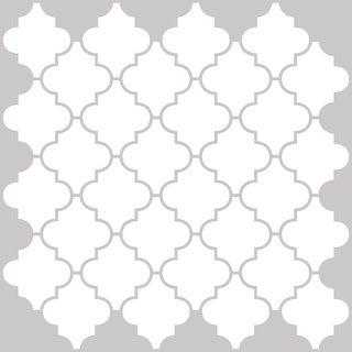 "Brewster NH2360  Quatrefoil 10"" x 10"" Square Geometric Self-Adhesive Resin Peel and Stick Backsplash Tiles - White"