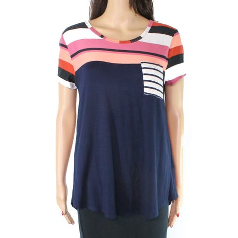Moa Moa Women's Top Classic Blue Pink Size XL Knit Striped One Pocket