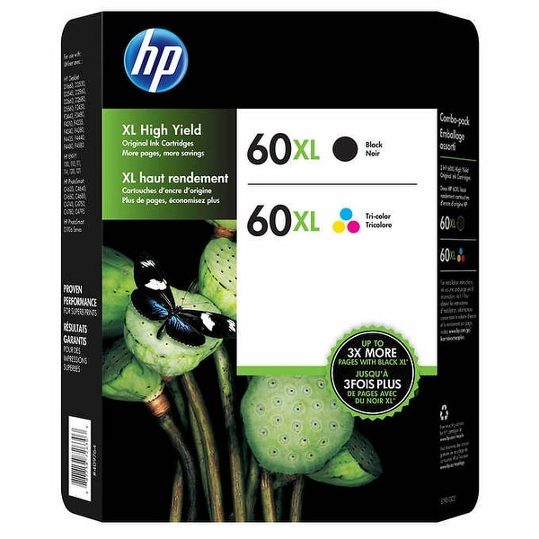 HP 60XL Black and Tri-color High Yield Original Ink Cartridges D8J61BN Combo pack - Multi-color. Opens flyout.