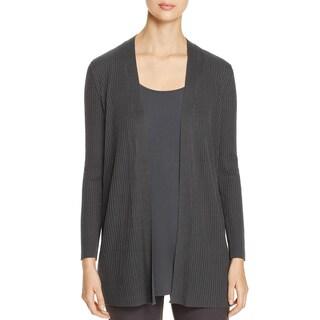 Eileen Fisher Womens Petites Cardigan Sweater Tencel Open Front