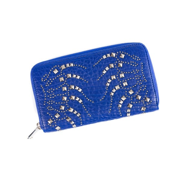 Roberto Cavalli Womens Electric Blue Studded Zip Continental Wallet - L