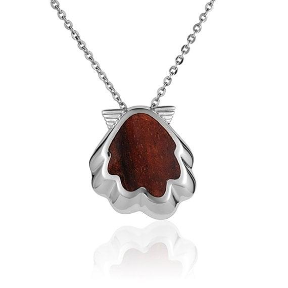 "Sunrise Shell Necklace Koa Wood Sterling Silver Seashell Pendant 18"" Chain"