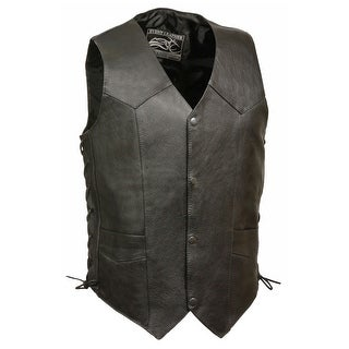Mens Classic Side Lace Leather Biker Vest