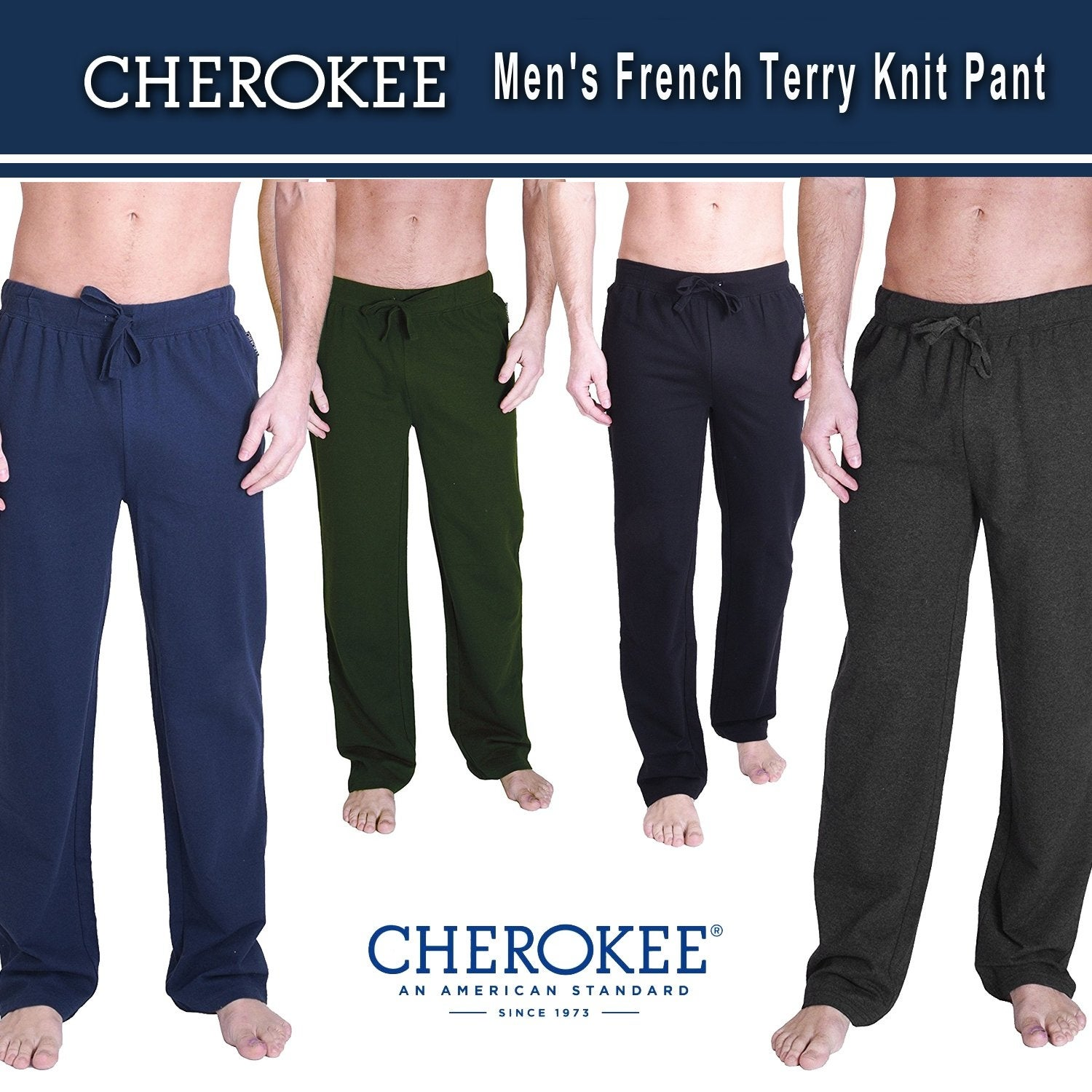 Cherokee Men Relaxed French Terry Knit Pants Sleepwear