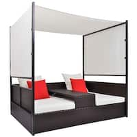 vidaXL Double Day Bed with Canopy Poly Rattan Brown
