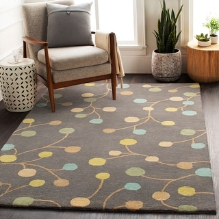 Hand-tufted Gum Drop Floral Round Wool Area Rug