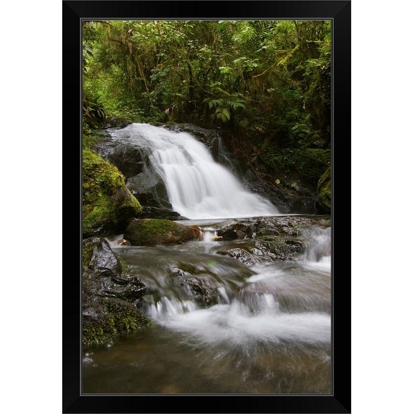 """Cloud forest stream"" Black Framed Print"