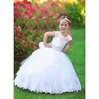 Triumph Dress Little Girls White Crystal Adorned Nicol Flower Girl Dress
