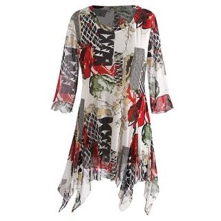 Women's Tunic Top - Desert Fire 3/4 Sleeve Handkerchief Hem Blouse