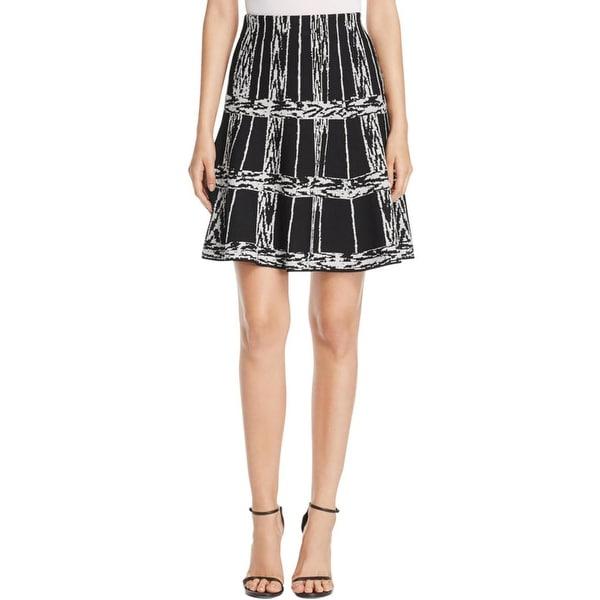 Nic+Zoe Womens A-Line Skirt Windowpane Print Pull On