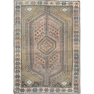 "Shahbanu Rugs Semi Antique Tan Color Persian Shiraz Distressed Clean Bohemian Pure Wool Hand Knotted Oriental Rug (4'8"" x 6'7"")"