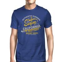 Authentic Summer Surf California Tee Shirt For Men Blue Lightweight