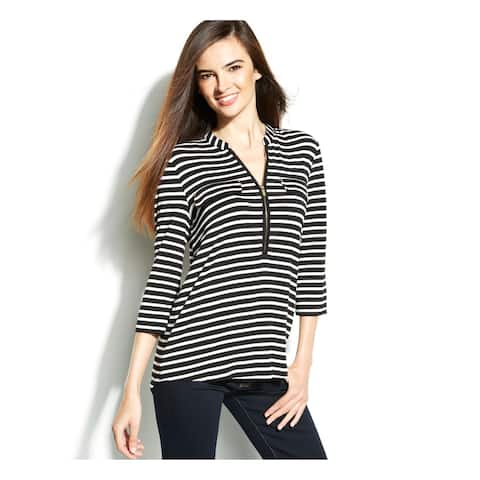 CALVIN KLEIN Womens Black Striped 3/4 Sleeve Zip Neck Top Size S