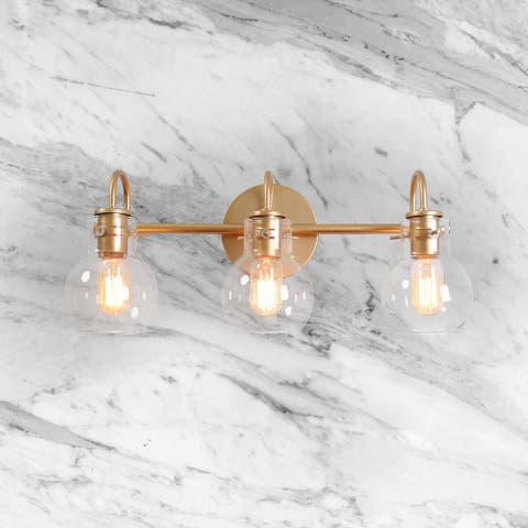 """Mid-Century Gold Arm 3-lights Wall Sconce Bathroom Vanity Lighting with Globe Glass Shade - L22""""x W7""""x H9"""""""