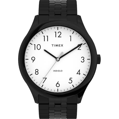 Timex Men's Modern Easy Reader 40mm Watch - Black Case White Dial with Expansion Band - One Size