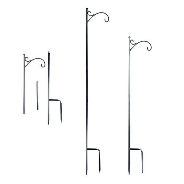 """68"""" Black Metal Shepherds Lantern Hook Stand - N/A"""