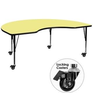 Fun & Games Activity Table 48''W x 96''L Kidney Yellow Thermal Laminate Adj Short Legs w/Wheels